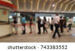 commuter getting in line in the ... | Shutterstock . vector #743383552