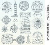 set of vintage nautical labels... | Shutterstock .eps vector #743385088