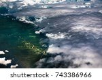 view trough airplane window.... | Shutterstock . vector #743386966