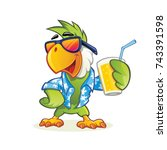 Exotic Cartoon Parrot With...