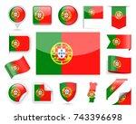 portugal flag set   vector... | Shutterstock .eps vector #743396698