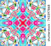 colorful kaleidoscopic pattern... | Shutterstock . vector #743397868
