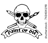 skull with brush  pencil and... | Shutterstock .eps vector #743404198