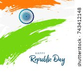 happy republic day background... | Shutterstock .eps vector #743412148