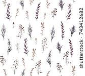 seamless pattern of autumn ... | Shutterstock .eps vector #743412682