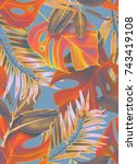 tropical palm leaves seamless... | Shutterstock . vector #743419108