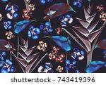 seamless tropical flower  plant ...   Shutterstock . vector #743419396
