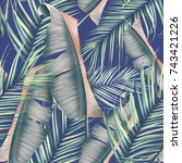 seamless tropical flower  plant ...   Shutterstock . vector #743421226