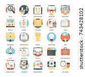 set of modern design icons on... | Shutterstock .eps vector #743428102