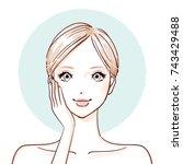 beauty woman_hands on cheeks | Shutterstock .eps vector #743429488