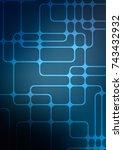dark blue abstract doodle... | Shutterstock . vector #743432932