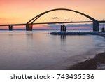 fehmarn sound bridge in... | Shutterstock . vector #743435536