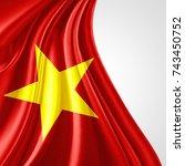 vietnam flag of silk with... | Shutterstock . vector #743450752