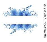 watercolor frame of delicate...   Shutterstock . vector #743451622