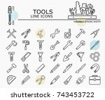 tools line icons with minimal... | Shutterstock .eps vector #743453722