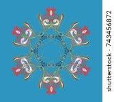 snowflakes pattern. snowflake... | Shutterstock . vector #743456872