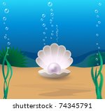 marine cockleshell with a pearl ... | Shutterstock .eps vector #74345791