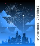 fireworks display over a major... | Shutterstock .eps vector #74345863