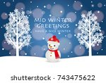mid winter greeting card of... | Shutterstock .eps vector #743475622