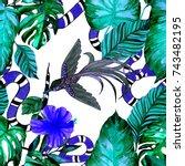 fashion print. watercolor... | Shutterstock . vector #743482195