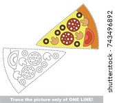 piece of pizza fast food to be... | Shutterstock .eps vector #743496892