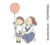 vector illustration of mom and... | Shutterstock .eps vector #743498566