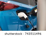 fcv  fuel cell vehicle and... | Shutterstock . vector #743511496