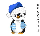 penguin in santa claus hat and... | Shutterstock .eps vector #743515252