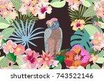 owl in the night garden....   Shutterstock .eps vector #743522146