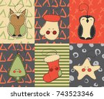 christmas cards vector hand... | Shutterstock .eps vector #743523346