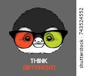 portrait of the penguin in the... | Shutterstock .eps vector #743524552