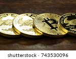 bitcoin in a row of 1 ounce...   Shutterstock . vector #743530096