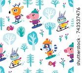 winter and christmas seamless...   Shutterstock .eps vector #743537476