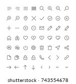 user interface line icons for... | Shutterstock .eps vector #743554678