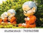 buddhist novice dolls for... | Shutterstock . vector #743563588