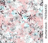 watercolor seamless pattern of... | Shutterstock . vector #743566432