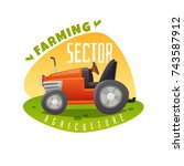 farm emblem with tractor on a... | Shutterstock .eps vector #743587912