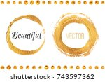 golden circles and dots drawn... | Shutterstock .eps vector #743597362