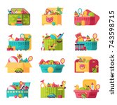 kids toys box vector collection.... | Shutterstock .eps vector #743598715