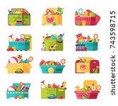 kids toys box vector collection.... | Shutterstock .eps vector #743598715