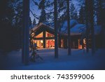a cozy wooden cabin cottage...   Shutterstock . vector #743599006