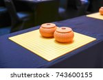 chinese go game board close up... | Shutterstock . vector #743600155