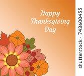 happy thanksgiving day.... | Shutterstock .eps vector #743600455
