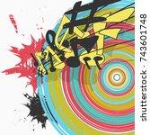colorful music poster design... | Shutterstock .eps vector #743601748