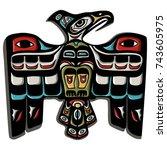 traditional thunder bird eagle... | Shutterstock .eps vector #743605975