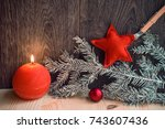 christmas composition of red... | Shutterstock . vector #743607436