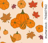 autumn seamless pattern with... | Shutterstock .eps vector #743607562