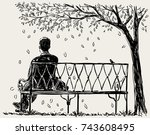 Lonely Man Sits On The Park...