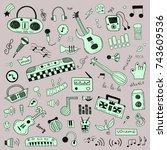 music symbols doodle set   Shutterstock .eps vector #743609536