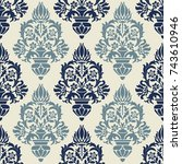 seamless damask wallpaper....   Shutterstock .eps vector #743610946